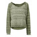 Fringed sweater olive white