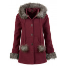 Wool coat hooded faux fur bordeaux
