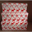 Weihnachten Verpackungs Kartons Elch 3tlg.