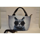 Textile fabric  handbag with cat print with solar