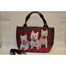 Textile fabric  handbag with three puppies print wi