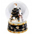 B-Ware Schneekugel Santa Baum schwarz 150mm