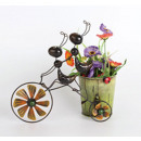 Two ants on a bike with flower pot