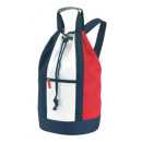 Duffel bag, white,  blue, red, about Ø30 x 50