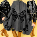 3675, soft and  warm poncho, BIG BUTTERFLY