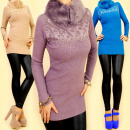 3709 Elegant  sweater, TUNIC, fur collar MIX