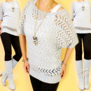H26103, ROMANTIC  SWEATER, openwork BLOUSE