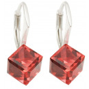 silver earrings  with swarovski Cubic Padparadscha