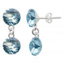 silver earrings  with swarovski d. Xirius Aqua