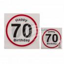 Papier Servietten,  Happy Birthday - 70, ca. 33 x 3