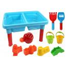 Sand game table  with 2 buckets, rakes, shovel, G