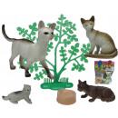 Tiere - Katzen mit  Zubehör 6 teilig mehrfach-