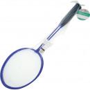 Badminton racket 2, 1 ball in the net