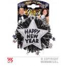 Brosche ,Happy New  Year, silber - ca 12x12cm