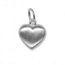 Real Silver  Pendant heart  matt, 925 silver, ...