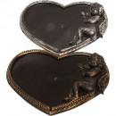 Plastic plate heart 39cm gold / silver