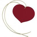 Cardboard heart 100pcs red 65x45mm