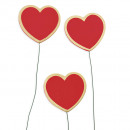 Wood X heart / wire 6cm