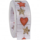 wholesale Decoration: Ribbon heart star red 40mm15m