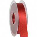 wholesale Decoration: Ribbon X-mas shimmer red 25mm20m