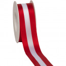 wholesale Decoration: National Taffeta red / white / red 40mm25m