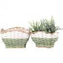 groothandel Tuin & Doe het zelf: Mand Capri vierkant S2, 22,26cm groen wit