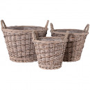 Willow basket brown, gray Ø37H27cm