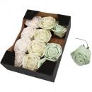 Foam rose 7cm, 12pcs verde waterproof