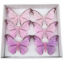 Butterflies.6pcs pink 7cm wire