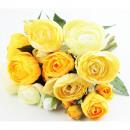 wholesale Artificial Flowers: Ranunculus bush x10 yellow 22cm