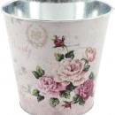 Großhandel Blumentöpfe & Vasen: Topf Rose altrosa Ø15cm Metall