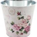 Großhandel Blumentöpfe & Vasen: Topf Rose altrosa Ø17cm Metall