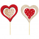 Rod heart natural red 30cm wood