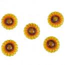 wholesale Artificial Flowers: Metal litter sunflower D4cm yellow