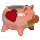 Großhandel Geschenkartikel: Keramik GlücksschweinTopf L15cm