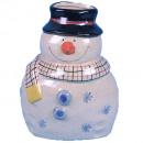 Stoneware snowman vase H23cm cream