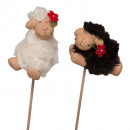 Ceramic sheep wand H6cm 3D white