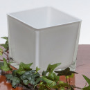Großhandel Geschirr: Glaswürfel weiss 10x10H10cm