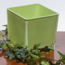 wholesale Crockery: Glass cube h.green 10x10H10cm
