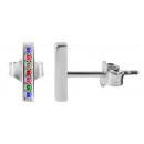 925 Silber Ohrringe, 925/rhodiniert, 0,53g, Farbe: