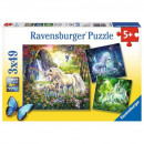 Puzzle Unicorn Puzzle 3X49 pieces Beautiful One
