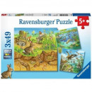 wholesale Toys: 3x49 puzzle pieces Animal habitat