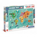 wholesale Toys: Puzzle 250 pieces EXPLORING MAPS Animals in the