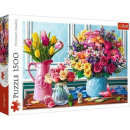 Puzzle of 1500 pieces Flowers in vases