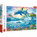 Puzzle 1500 pieces Family of dolphins