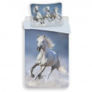 wholesale Bed sheets and blankets: Photoprints Sweet home Horses White