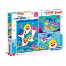 wholesale Toys: Puzzle 3x48 pieces Super Color Baby Shark