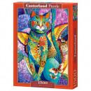 Puzzle Cat Puzzle 1500 darab Színes macska Feli