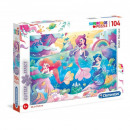 Puzzle 104 elements Under the Sea with glitter