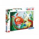 Puzzle 180 piezas Super Color Dragón y caballero